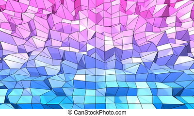 4k clean low poly animated background in loop. Seamless 3d animation in modern geometric style with modern gradient colors. Creative simple background. Red blue gradient colors 7