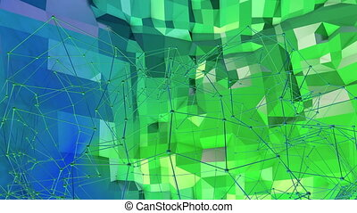 4k clean low poly animated background in loop. Seamless 3d animation in modern geometric style with modern gradient colors. Creative simple background. Blue green gradient colors, terrain 6