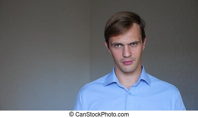 4k. Close up of man . portrait of a young man. body language...