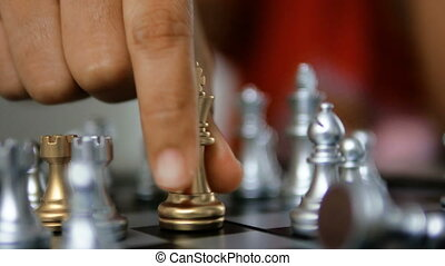 4K Close up shot hands of woman playing golden and silver...