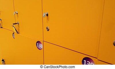 4k closeup video of camera slowly moving along row of yellow...