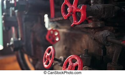4k closeup video of old valves and pipes painted in red in ...