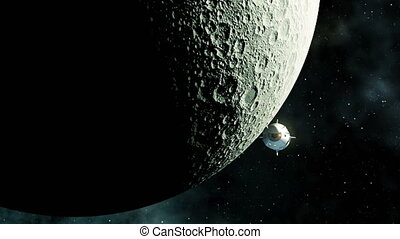 4K. Commercial Spacecraft Orbiting Moon. Ultra High ...