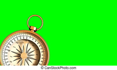 4K. Compass Indicating Direction On Green Screen.