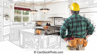 4k Contractor Facing Custom Kitchen Drawing Transitioning to...