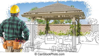 4k Contractor Facing Custom Pergola Drawing Transitioning to...