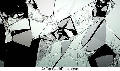 4K Cracked & Shattered glass slowmo