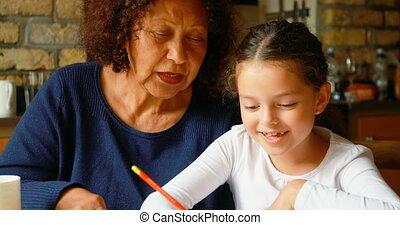 4k, cuisine, petite-fille, études, portion, grand-mère