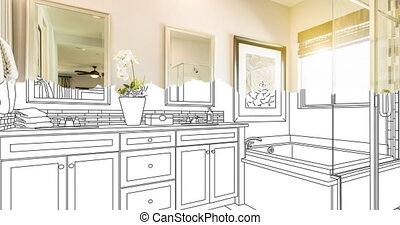 4k Custom Bathroom Drawing Transitioning to Photograph. - 4k...