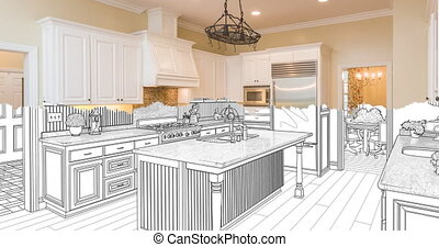 4k Custom Kitchen Drawing Transitioning to Photograph. - 4k...