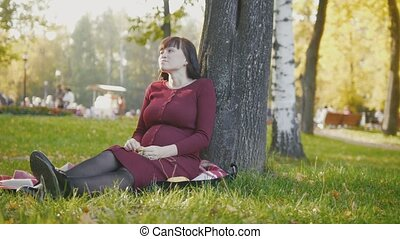 4K Cute happy pregnant woman in red dress sitting on blanket and stroking tummy in the autumn park at sunset, slide shot