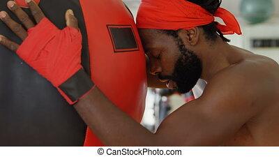 4k, délassant, studio, boxeur, mâle, fitness