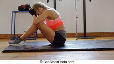 4k, délassant, studio, femme, boxeur, fitness