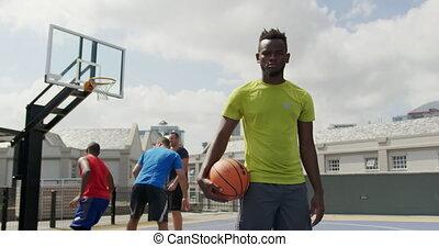 4k, debout, joueur basket-ball