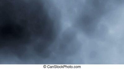 4K digital perfectly seamless loop of smoke slowly floating through space against black background