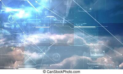 4k, digitalement, interface, engendré, écran visuel