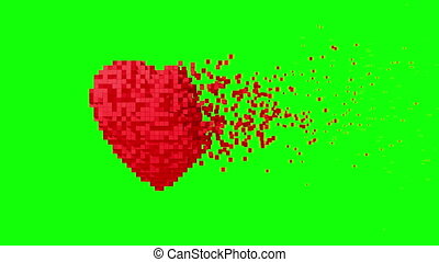 4K. Disintegration Of Red Digital Heart On Green Screen.