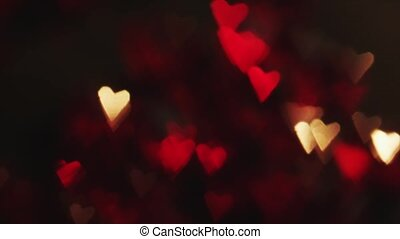 4K Distant Out Of Focus Heart Bokeh Red
