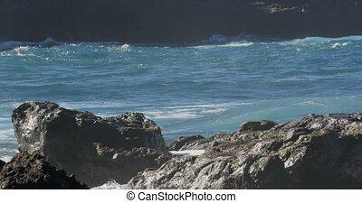 4K, Dramatic water waves splashing - Dramatic wave action,...