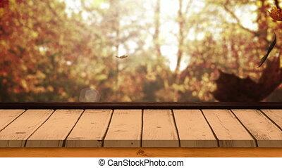 4k, drewniany, liście, deska, przeciw, jesień