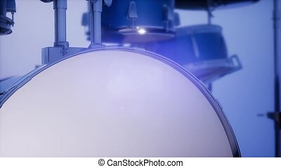 drum set with DOF and lense flair - 4k drum set with DOF and...