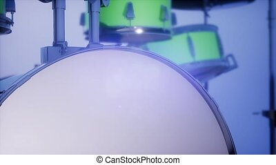 4k drum set with DOF and lense flair