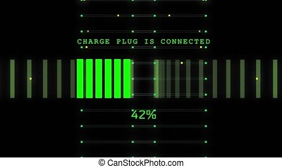 4k Electronic Digital battery charge animation. Future hybrid cars, Artificial Intelligence. Checking Background. Automobile Technology. Future battery Charging interface digital line.