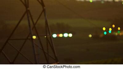 4k, elektryczność, światła, pylon, przeciw, pojazd, bokeh