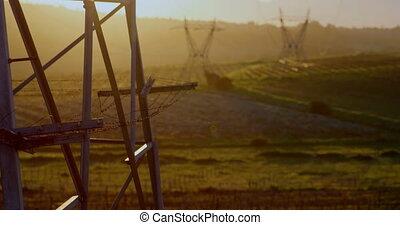 4k, elektryczność, pylony, podczas, zachód słońca