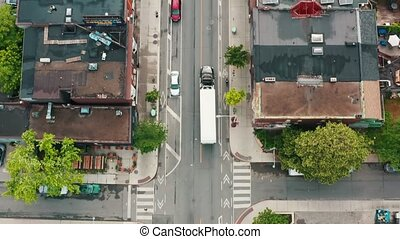 4K Establishing shot of a white transport truck as it...