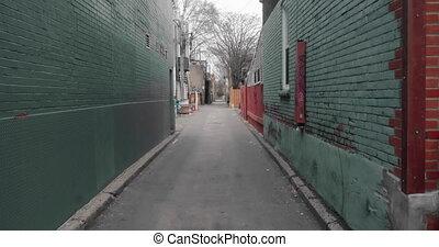 4K establishing shot of an empty alley in a big city. Shot...
