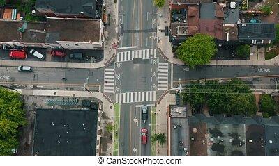 4K Establishing shot of an intersection in Downtown Toronto....