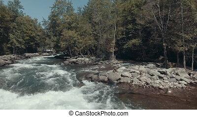 4K Establishing shot of Rapids. Aerial footage.