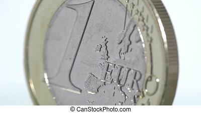 4K - Euro Coin. Macro shot of a white background