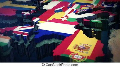 4K European Flag Map 3x10 Sec Clips - 4K European Flag...