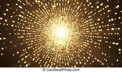 4k Explosion gold lights sparkles Glowing light explodes ...