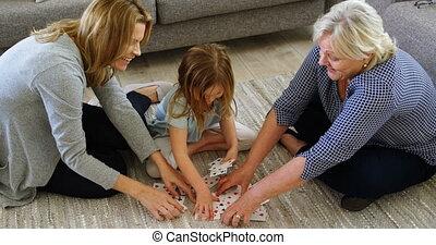 4k, famille, cartes, salle, vivant, jouer