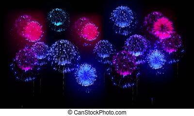 4K festival firework. many different versions. number