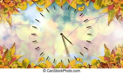 4k, feuilles, cadre, horloge, automne