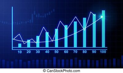4k Financial data and diagrams showing a steady increase in profits. growing charts and flowing counters of numbers,Economy background,Business digital Data trend hud Graph, Stock Market.