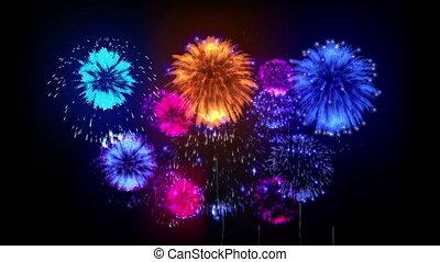 4K firewoks display. colorful fireckrackers at holiday night. version 9.