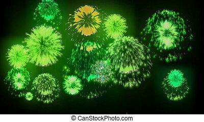 4K firework background. colorful fireckrackers at holiday...