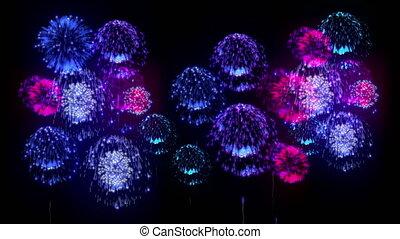 4K firework. Holidays fireworks. CG, 3d render. Version 1. -...