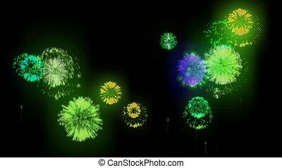 4K firework. Holidays fireworks. CG, 3d render. Version 2.