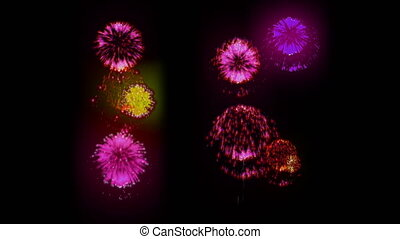 4K firework. Holidays fireworks. CG, 3d render. Version 29....