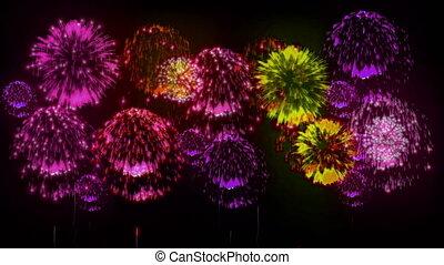 4K firework. Holidays fireworks. CG, 3d render. Version 33.