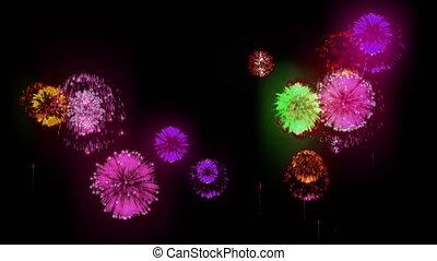 4K firework. Holidays fireworks. CG, 3d render. Version 38.