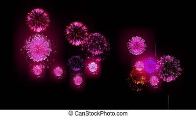 4K firework. Holidays fireworks. CG, 3d render. Version 28.