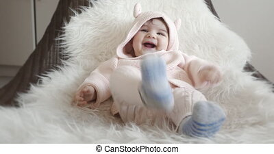 Five Month Old Baby Girl Laughing.
