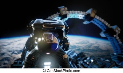 4k Flight Of Astronaut and the International Space Station...